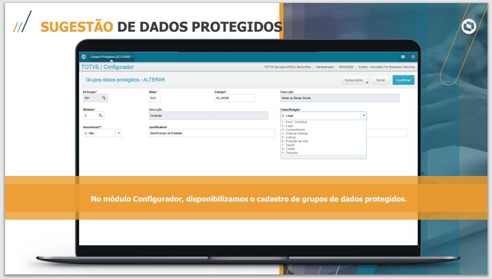 Sugestão de dados protegidos